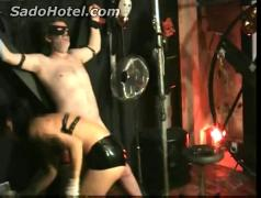 Slave tied to a wall got his nipples and cock hurt with a ventilator by horny mistress
