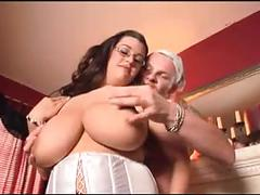 Bbw brunette gets cum on her tits.