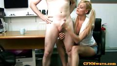 Euro cfnm femdom tugging on his cock so well