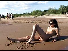 Naked teen on the beach
