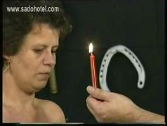 Old german slave got lots of wooden clamps on her big tits and got them covered with hot candlewax