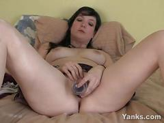 Pierced cherry toying her pussy