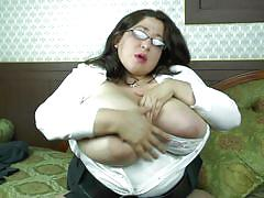 mature, glasses, solo, masturbation, brunette, huge boobs, natural tits, bbw, tits groping, mature nl, andrea o.