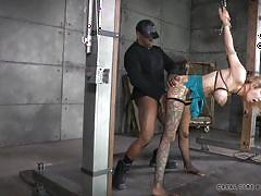 milf, tattoo, blonde, threesome, bondage, bdsm, big tits, interracial, stockings, tied up, mouth fuck, from behind, squeezed tits, real time bondage, rain degrey