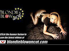 blowjob, blondieblowuncut.com, leather, heels, blonde, sucking cock, face fucking, busty, pov, dirty talk, stroking, facial