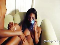Tow black ebony sluts having a competition who suck the best