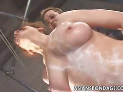 Hairy japanese babes gets hard bondage.