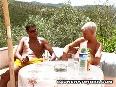 Horny twinks loves fucking on open beach.