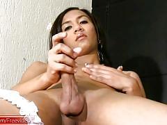 Feminine thai femboy with puffy nipples shoots a big cumload