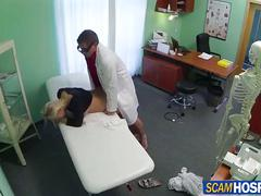 Super hot blonde gets her bandage changed and her sweet pussy by her doctor