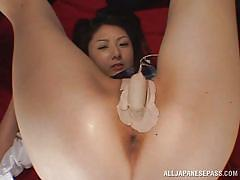 Japanese cutie gets her asshole filled up with cum