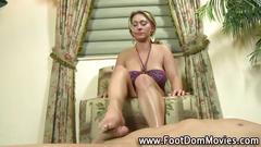 Femdom babes sexy feet help her man cum