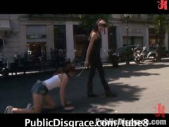 Beautiful redhead tied up, stripped bare, and fucked on the streets