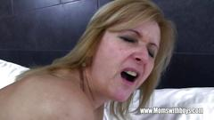 Mature maid fucks an aroused dude so very hard