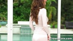 Sexy brunette molly jane showing off her huge naturel knockers
