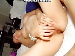 Shaved asian pussy gets fingeres