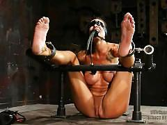 bondage, fetish, bdsm, kink, tickling, tattoo, shaved, big-boobs, red-hair, heels, feet, vibrator, masturbate, orgasm, blind-folded