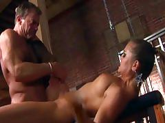 Kinky fucking in ripped up thigh high stockings