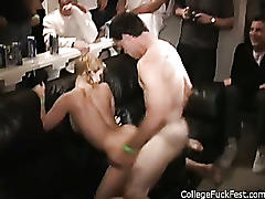 Stupid blonde bumps head in amateur porno party