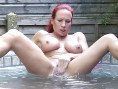 Sexy milf with big chest bating in bath