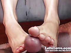 fetish, lelu, lelu-love, homemade, 1080p, toenails, toe-sucking, toes, footjob, feet, cumshot, flip-flops, pov, red