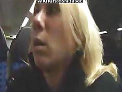 Masturbation with dildo and butt plug in a train