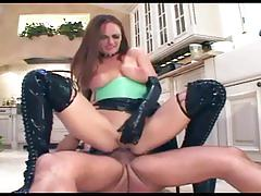 hardcore, lingerie videos.com, brunette, leather, big boobs, big nipples, kitchen, landing strip, latex, boots, reverse cowgirl, ass fucking, sucking cock, stroking, facial