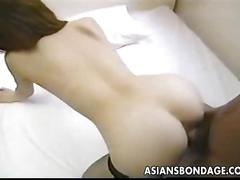 Sweet japanese babe has her tender pussy licked before munching on a hard cock.