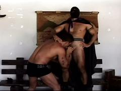 Lovely muscled gay hunks in costume sizzling hot master slave fun