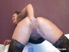 Hot brunette minx fist fucking her asshole till she orgasms