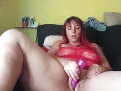 dildo, pussy, slut, shaved, fingering, toy, masturbation, solo, orgasm, bbw, big-boobs