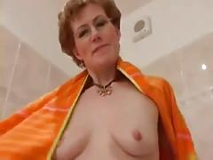 Sexy mature shows her pussy and nice nips