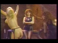 Retro lesbian group spanking
