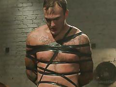 Bound slave gets sprayed down