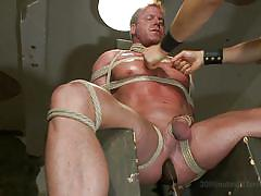bdsm, tied up, anal insertion, gay, ropes, clothespins, cbt, 30 minutes of torment, kink men, derek pain