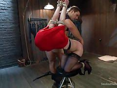 milf, bdsm, round ass, stockings, brunette, from behind, cock slapped, sex and submission, kink, ramon nomar, katie st. ives