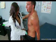 Busty brunette doctor sucks  swallows patient's cock for cum taste test