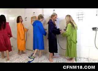 Cfnm girls humiliate dude peeping on the in shower