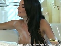 2 horny lesbians in a bubble bath lick pussy  make eachother cum