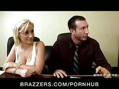 Horny big-tit brunette & blonde office sluts fuck big-dick at work