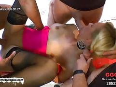 Little slut is on her knees sucking cocks and swallowing sperm like a good girl