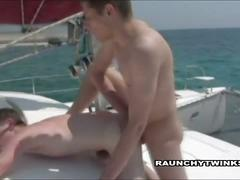 Horny twinks fucking on yacht.