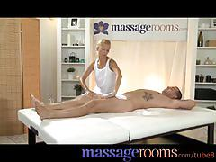 Massage rooms horny young blonde takes a fat cock in her tight shaved pussy