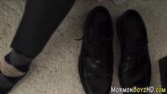 Mormon elder solo tugging