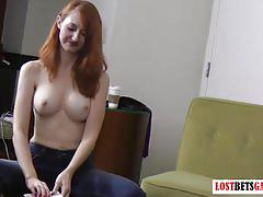 fetish, amateur, strip, lostbetgames.com, red head, brunette, big tits, heels, homemade, betting, cards, spanking, punishment, gagged, slave, leash