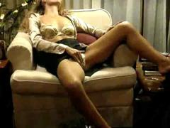 Crazy hot blonde gets freaky on the couch