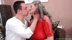 Boy loves hot busty granny