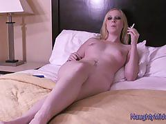 Kiki munroe - 18 year old smoking slut gets facialed and creampied