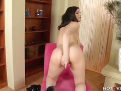 Latin girl with generous curves masturbates