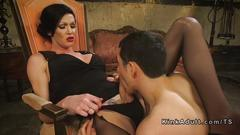 Tranny in tights anal fucks guy